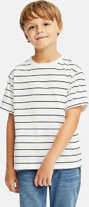 Kids Dry Ex Crew Neck Striped Short Sleeved T Shirt