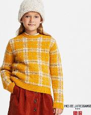 Kids Ines Cheked Jacquard Long Sleeve Sweater