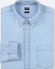Men Denim Slim Fit Shirt Button Down Collar