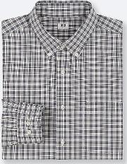 Men Extra Fine Cotton Broadcloth Checked Shirt Button Down Collar
