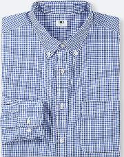 Men Extra Fine Cotton Broadcloth Regular Fit Checked Shirt Button Down Collar