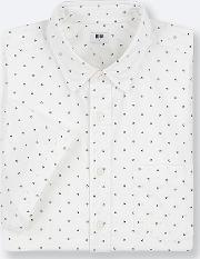 Men Extra Fine Cotton Broadcloth Regular Fit Dotted Short Sleeved Shirt Regular Collar