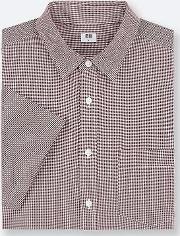 Men Extra Fine Cotton Regular Fit Checked Short Sleeved Shirt Regular Collar