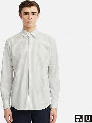 Men Uniqlo U Extra Fine Cotton Broadcloth Striped Shirt Regular Collar
