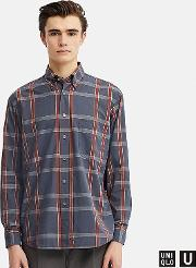 Men Uniqlo U Wide Fit Checked Shirt Button Down Collar