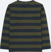 Men Washed Striped Long Sleeve T Shirt