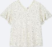 Women Crepe Jersey Dotted Butterfly Sleeved T Shirt