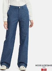 Women Ines Chambray Cotton Wide Leg Trousers