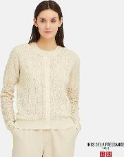 Women Ines Pointelle Crew Neck Cardigan