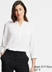 Women Rayon Stand Collar 34 Sleeved Blouse