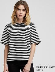 Women Striped Crew Neck Cropped Short Sleeved T Shirt