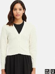 Women Uniqlo U Cotton Balloon Sleeved Cardigan