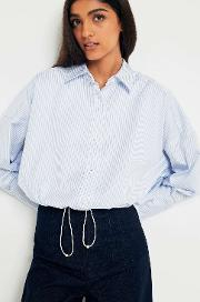 Striped Button Down Bungee Hem Shirt