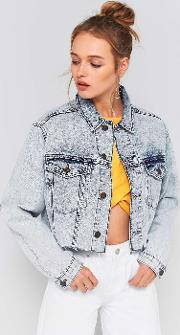 Acid Wash Cropped Denim Jacket