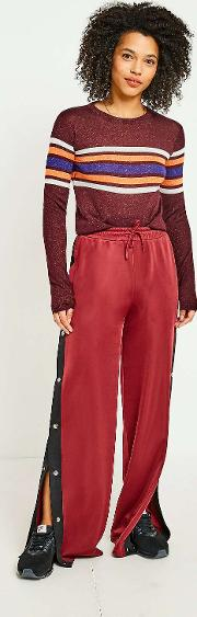 Burgundy Striped Popper Track Trousers