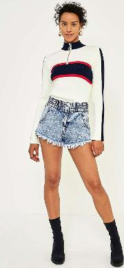 Cheeky '80s Acid Wash Denim Shorts