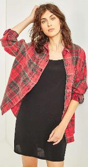 Dolman Sleeve Flannel Shirt