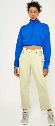 Jersey Elastic Waist Cropped Track Jumper