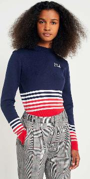 Fila Jenna Striped Cropped Knit Jumper