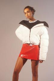 Contrast Lining White Puffer Jacket