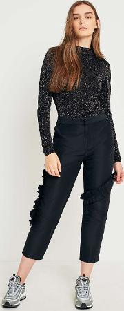High Rise Cropped Ruffle Trousers
