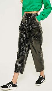 Vinyl Pleated Cropped Trousers