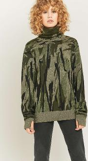 Bonsai Ninja Green Turtleneck Jumper
