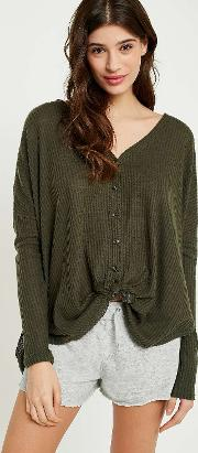 Jojo Oversized Thermal Button Front Top
