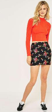 Floral Embroidered Mesh Pelmet Skirt