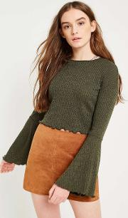 Forest Fluted Sleeve Ribbed Crop Top
