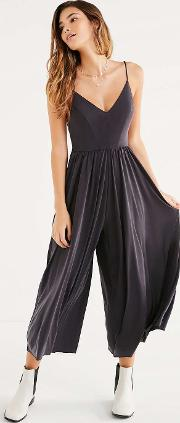 Molly Black Cupro Culotte Jumpsuit