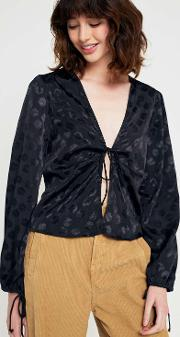 Pin Tuck Tie Front Blouse