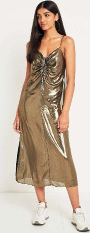 Ruched Gold Slip Dress