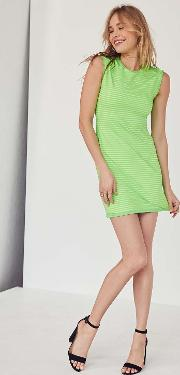 Silence Noise Mindy Lindy Green Shadow Striped Muscle T Shirt Dress