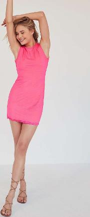 Silence Noise Mindy Lindy Pink Shadow Striped Muscle T Shirt Dress
