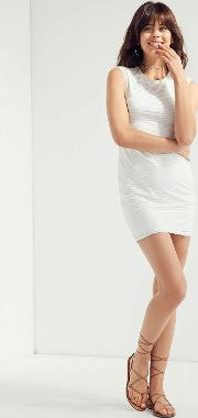 Silence Noise Mindy Lindy White Shadow Striped Muscle T Shirt Dress