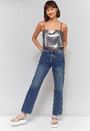 Sparkle And Fade Metallic Square Neck Cropped Cami