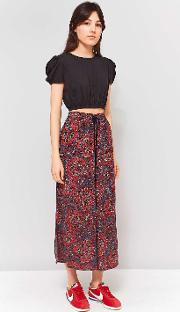 Red Paisley Crinkle Culottes
