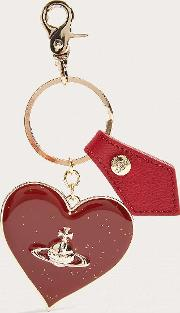 Mirror Heart Red Key Ring