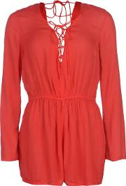 Lace Up Long Sleeve Playsuit