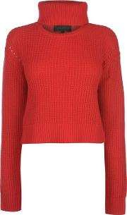 Cropped Open Neck Crew Jumper