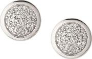 Essentials Sterling Silver And Pave Round Stud Earrings