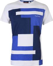 Colour Block Pattern T Shirt Mens