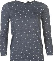 Long Sleeve Heart Pyjama Top Ladies