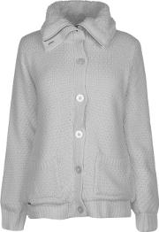 Funnel Neck Lined Knit Cardigan Ladies