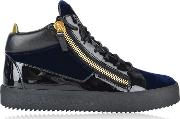 May Velvet Panel High Top Trainers