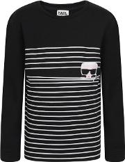 Stripe Graphic Long Sleeved T Shirt