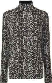 Leopard Turtle Neck Jumper