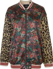 Multi Print Satin Bomber Jacket