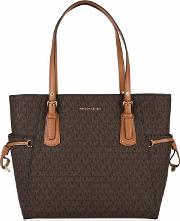 Grained Leather Voyager Tote Bag